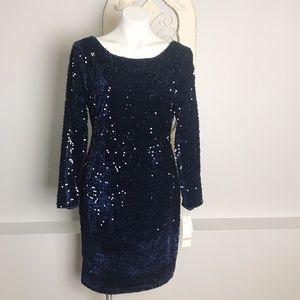 Chetta B | Navy Velour Sequin Sheath Dress 12